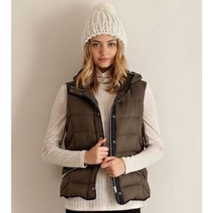 entro Army Green Zip Up Puffer Vest